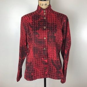 Chicos Red Textured Button Jacket Mandarin Collar